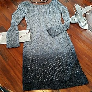 JS Collections Silver-Black Lace Dress
